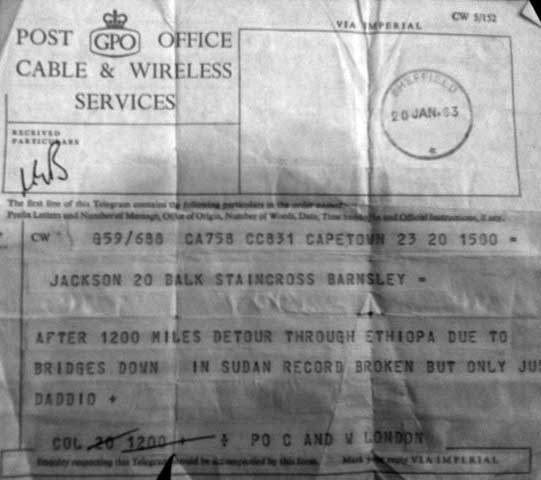 Telegram from Cape Town